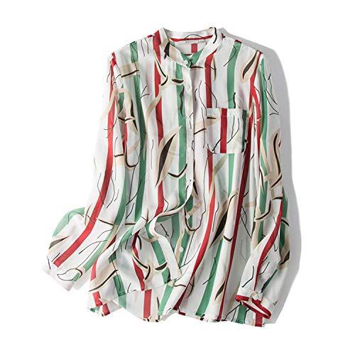 AIBAB Silk Crepe Long Sleeve Shirt 100% Silk Collar Top Ladies Spring Dress Contrast Stripes