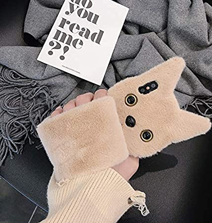 Cute Furry Black Plush Fur Phone Cases for Girls Women Winter Warm Soft Back Shockproof Protective Cover with Bling Glitter Crown iPhone 6 Fluffy Cat Ear Cases Fuzzy iPhone 6 Case