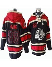 Gmjay Camiseta de Manga Larga NHL Chicago Blackhawks Patrick Kane # 88 Jersey Negro con Capucha Trikot Cosido Letras Números NHL