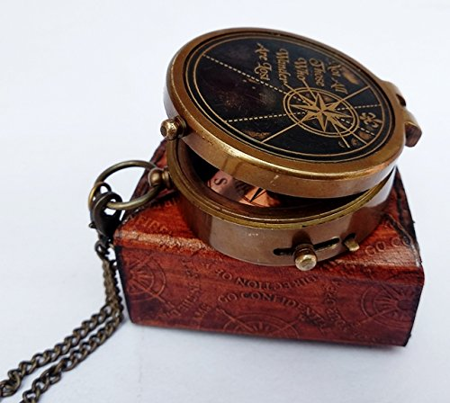 A S Handicrafts Thoreau 's Go Confidently Quote Engraved Compass with Stampedレザーケースヴィンテージ真鍮Workingコンパス 引用1 (Quotes 1)  B07DCSRGLG