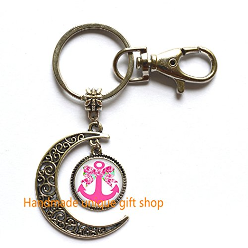 Modern Crescent Moon Keychain, Moon Keychain, Inspired Bow and Anchor Keychain, Lilly Keychain, First Impression Keychain, Anchor and Bow Keychain