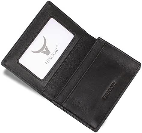 HISCOW Men's Business Card Holder with Large Compartment - Italian Calfskin