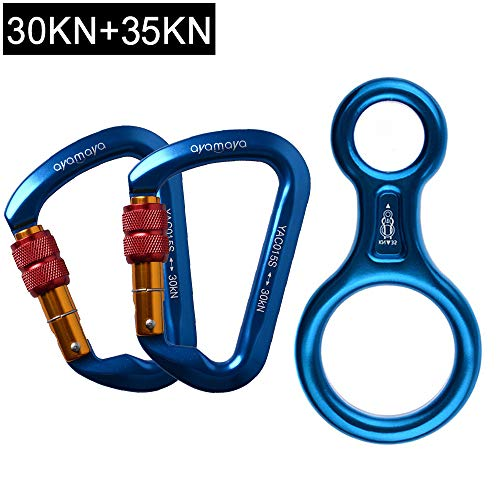 - AYAMAYA 30KN Screwgate Locking Climbing Carabiners 2 Pack & Figure 8 Descender,Outdoor D-Ring Hook Rappel Device for Rappelling Belaying Rock Climbing,Blue