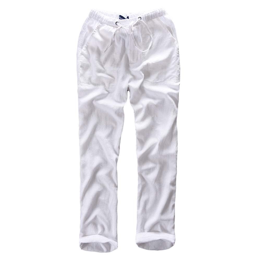 2b6dd34391e Helisopus Mens Casual Loose Relaxed Fit Cotton Linen Straight Long Solid  Pants Trosers at Amazon Men s Clothing store
