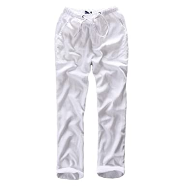 0d16d947fb3 Helisopus Mens Casual Loose Relaxed Fit Cotton Linen Beach Straight Long Solid  Pants Trousers with Drawstring