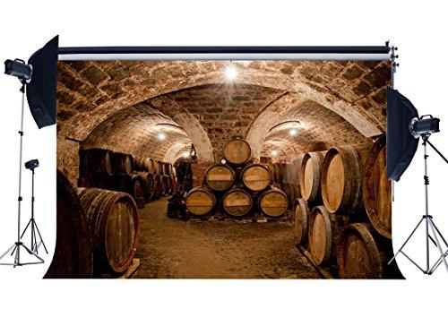 (Gladbuy Vinyl 10X8FT Old Wine Cellar Backdrop Shabby Barn West Cowboy Backdrops Vintage Cast Barrel Grunge Arch Brick Wall Photography Background for Men Adults Portraits Photo Studio Props KX489)