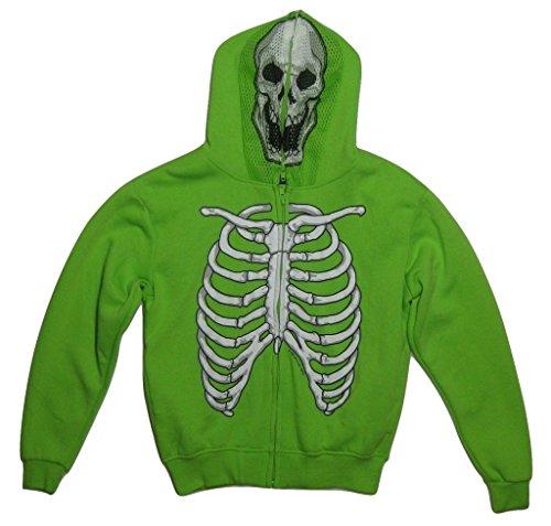 [Four Seasons Design Boy's Costume Hoodie Skeleton Jacket, Green, M (5/6)] (Boys Skeleton Sweatshirt Hoodie Costumes)