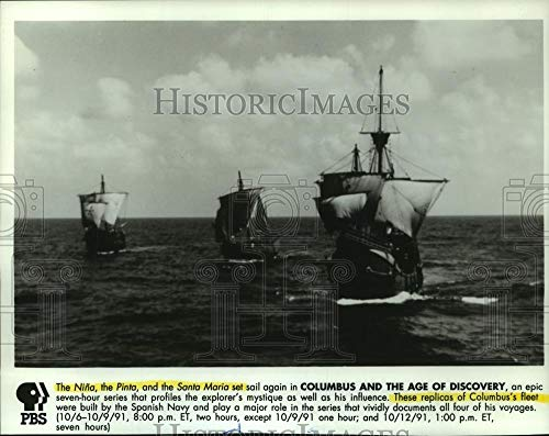 1991 Press Photo Nina, Pinta, Santa Maria ships Columbus and the Age of Discovey - Historic Images (La Nina La Pinta La Santa Maria)
