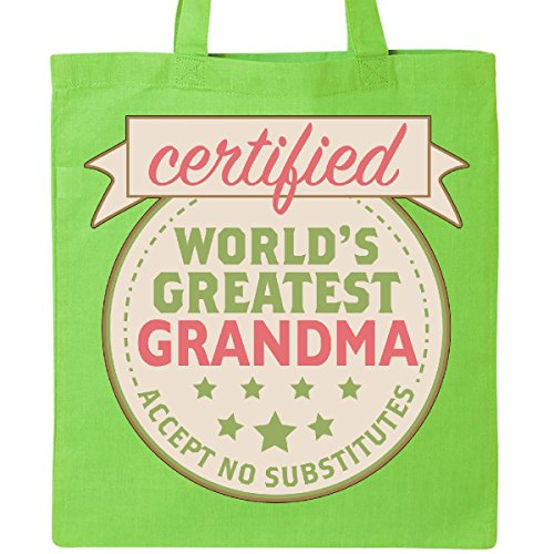 Inktastic - Certified World's Greatest Grandma Accept Tote Bag Lime Green 2a05e