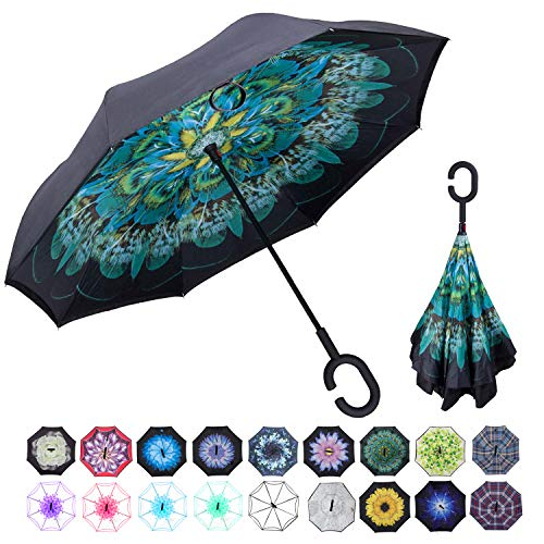 WASING Double Layer Inverted Umbrella Cars Reverse Umbrella, Windproof UV Protection Big Straight Umbrella for Car Rain Outdoor with C-Shaped Handle ()