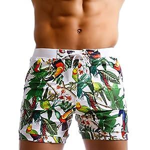 Taddlee Men Swimwear Swimsuits Flower Print Surf Board Boxer Shorts Trunks Long