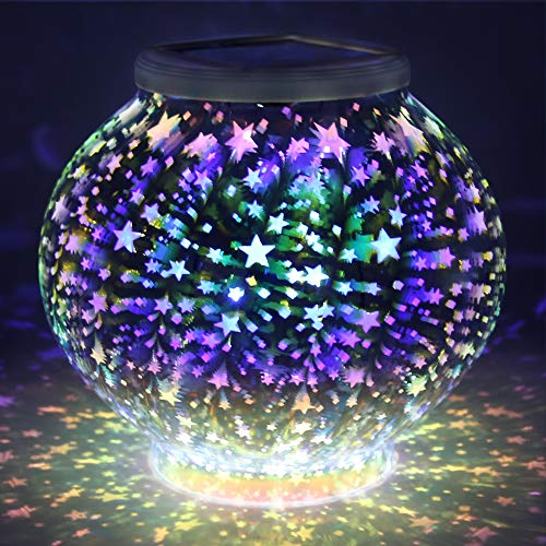 Color Changing Mosaic Solar Light, Pandawill Waterproof/Weatherproof Crystal Glass Globe Ball Light for for Garden, Patio, Party, Yard, Outdoor/Indoor Decorations (Stars) ...