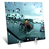 3dRose Lens Art by Florene - Décor Three - Image of Looking Out of Rainy Car Window - 6x6 Desk Clock (dc_291481_1)