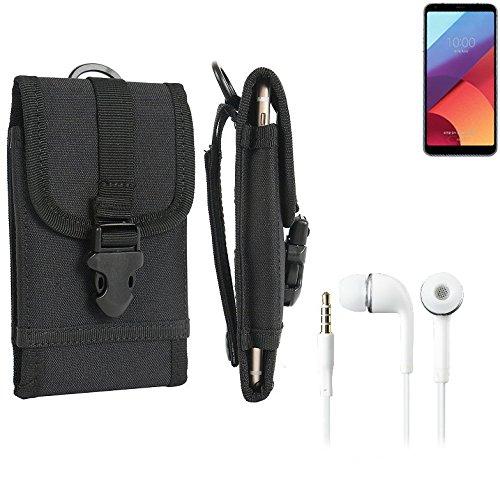 bolsa del cinturón / funda para LG Electronics G6+, negro + Auriculares | caja del teléfono cubierta protectora bolso - K-S-Trade (TM)