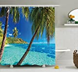 Bathroom Themes Ocean Decor Shower Curtain Set By Ambesonne, Image Of A Tropical Island With Palm Trees And Bright Sea Beach Theme Print Decor, Bathroom Accessories, 69W X 70L Inches, Turquoise Blue