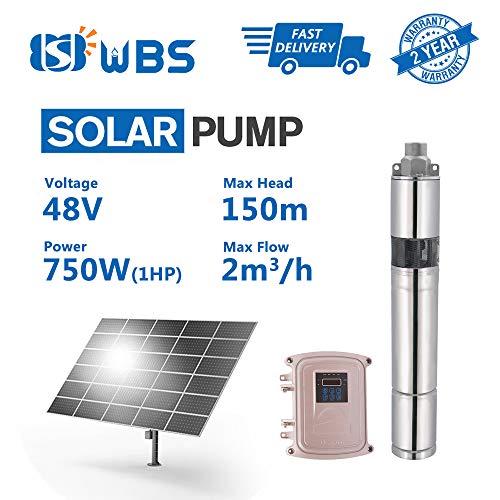 WBS Pump Deep Well Solar Water Screw Pump Submersible, 1hp, 48V, 8.8GPM, 492' Head, 3