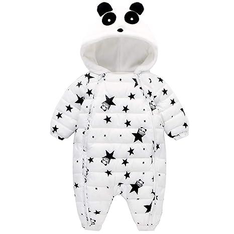 Bebé Traje de Nieve Ropa de Invierno Mameluco con Capucha Pelele de Algodón Panda Traje Blanco