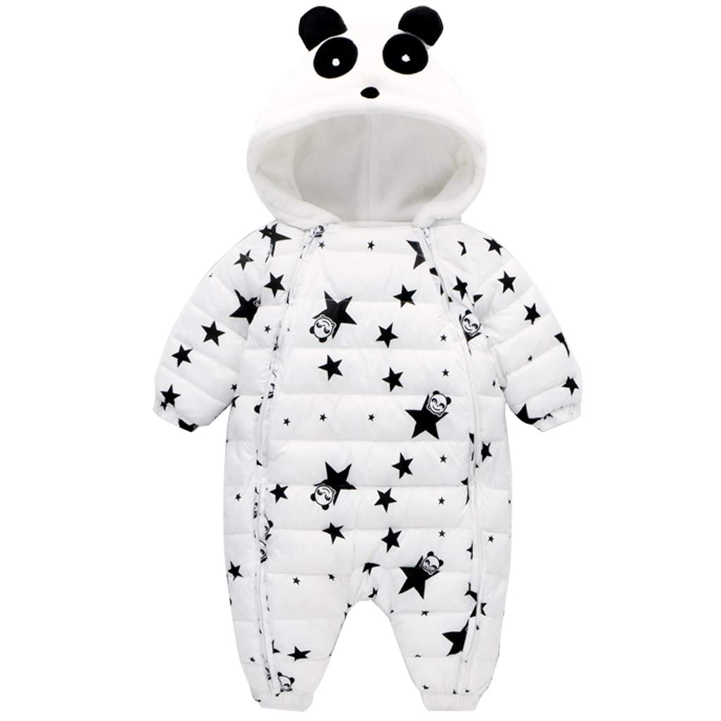 JiAmy Baby Winter Romper Hooded Snowsuit Cartoon Jumpsuit Thick Cotton Outfits for 3-18 Months