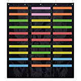 ZKOO 30 Pocket Storage Pocket Chart and hanging file folder organizer & 5 hangers, Best Pocket Chart for School, Classroom, Home, or Office Use, Organize Files, Scrapbook ,Papers & More (30 Pocket)