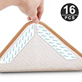 Rug Grippers, KOMAKE 16 Pcs Area Rug Gripper Tape Non Slip Carpet Gripper Anti Curling Rug Tape Washable Renewable Rug Pad Skid Tape for Hardwood Floors, Carpets, Area Rugs and Mats