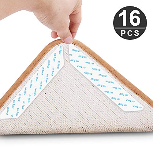 Rug Grippers, KOMAKE 16 Pcs Area Rug Gripper Tape Non Slip Carpet Gripper Anti Curling Rug Tape Washable Renewable Rug Pad Skid Tape for Hardwood Floors, Carpets, Area Rugs and Mats (Hardwood Floor Rugs Area Rugs Best)