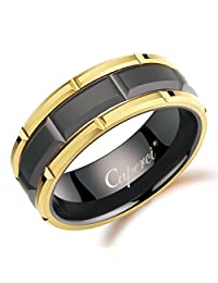 Caperci Men's Yellow Gold and Black Brick Pattern 8mm Tungsten Wedding Band Ring