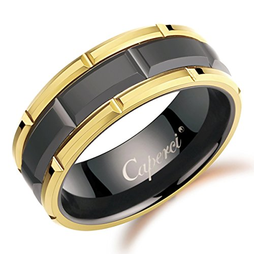(Caperci 8mm Brick Pattern Black Tungsten Wedding Band Rings for Men with Yellow Gold Rims, Size 10)