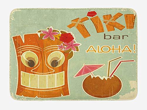 GG-go Tiki Bar Bath Mat, Invitation to Tiki Bar Old Fashion Display Coconut Drink Mask and Flowers Print, Plush Bathroom Decor Mat with Non Slip Backing, 24 W X 16 L Inches, Multicolor