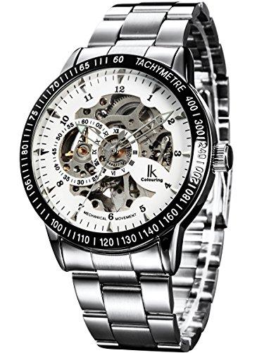 Alienwork IK mechanische Automatik Armbanduhr Skelett Automatikuhr Uhr weiss silber Edelstahl 98226-02