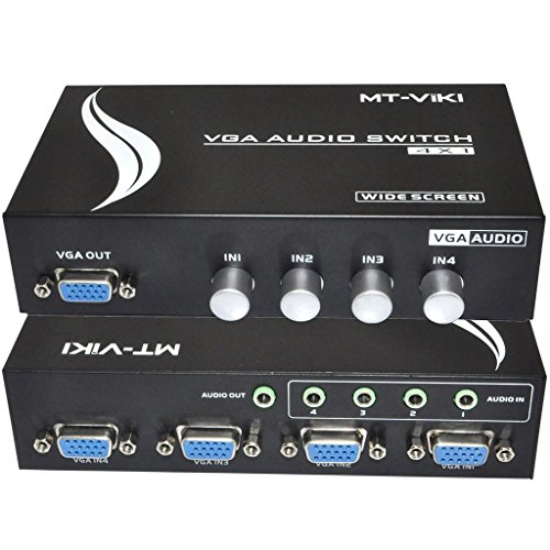 iKKEGOL 4 Port VGA Switch Audio Video Switcher Box (HDDB15+3.5mm) 4 x 1 SVGA Selector 4 PC In 1 Out for Monitor LCD Projector