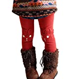 CUTEBABY Little Girl Winter Warm Rabbit Printed Leggings Fleece Pants