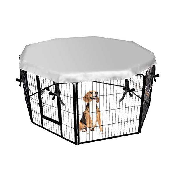 EXPAWLORER Dog Crate Cover for Outdoor and Indoor- Double Side Waterproof Windproof Shade Kennel Cover, Fits 24″ Crate with 8 Panel