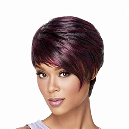 Babysbreath Moda Bob damas pelucas sintéticas para las mujeres inclinadas pelucas de pelo corto Frisette vino