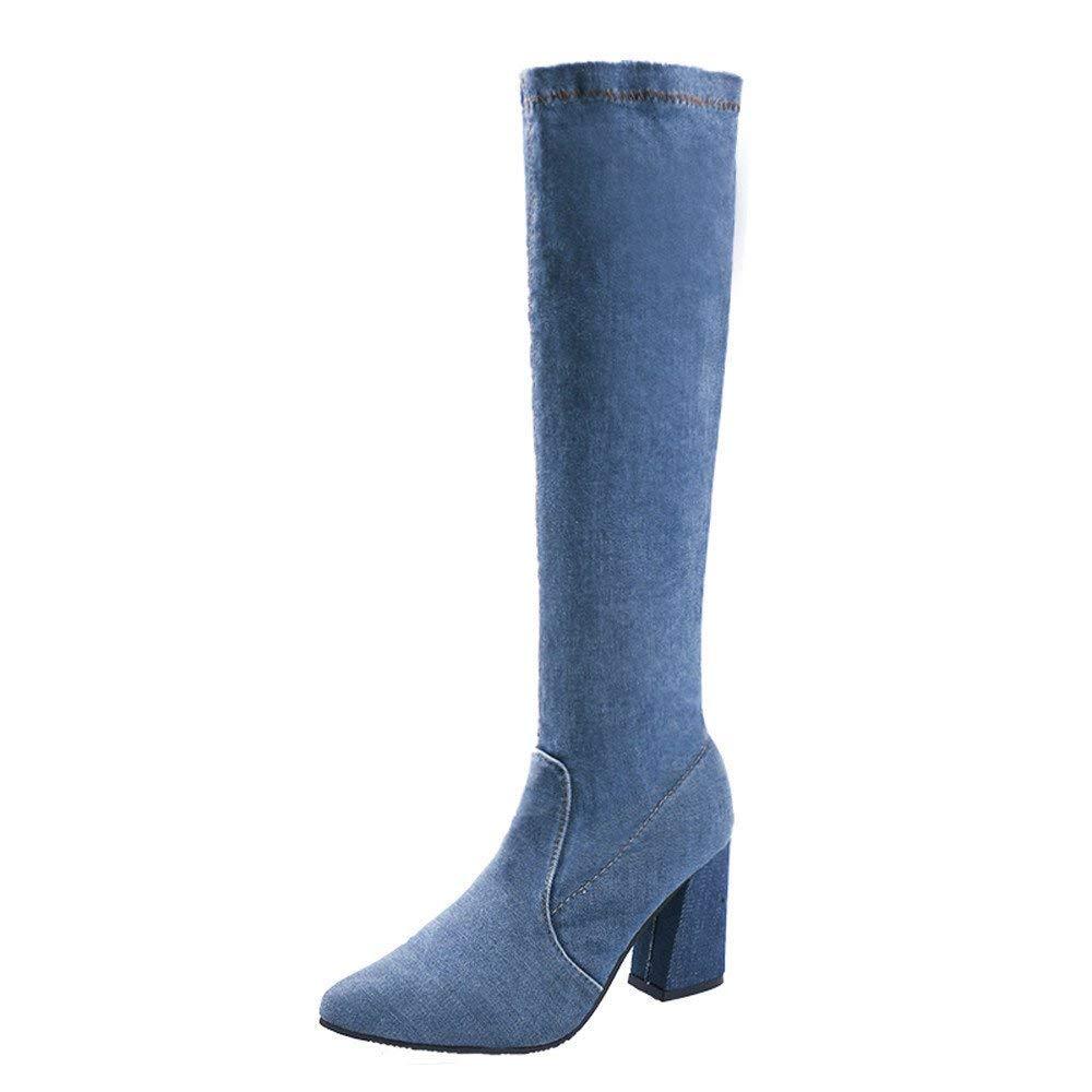 ZHRUI Stiefel Damen Schuhe Damenstiefel Denim Overknee Stiefel Reißverschluss Sexy Hoof Heels Damenschuhe Winter Warm Schneestiefel (Farbe   Blau Größe   39 EU)