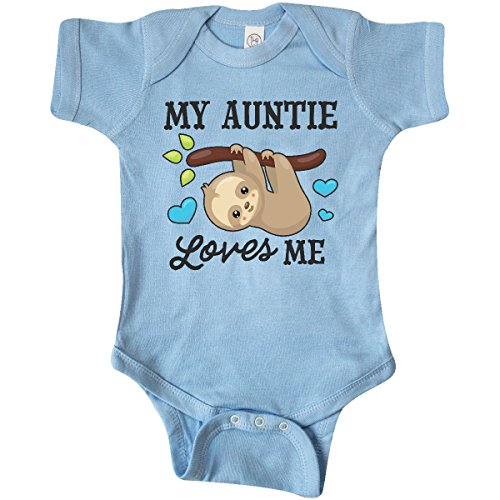 inktastic - My Auntie Loves Me with Infant Creeper 6 Months Baby Blue 2f1de