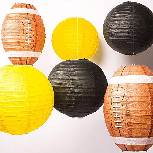Quasimoon PaperLanternStore.com Pittsburg Pro Football Paper Lanterns 6pc Combo Tailgating Party Pack (Yellow/Black)