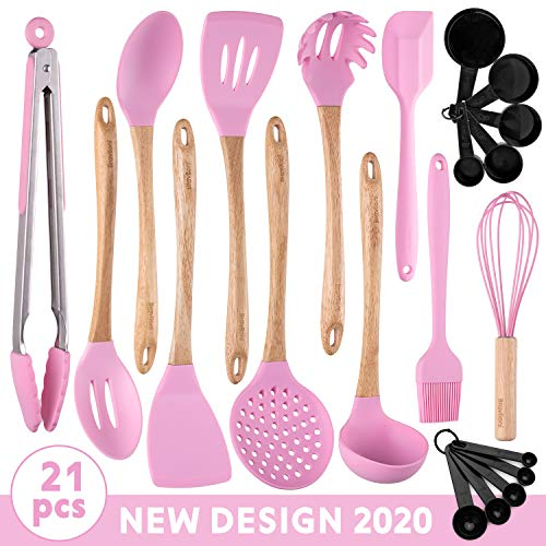 Stylish Kitchen Utensils – 21-Piece New Design Cooking Utensil Set – Wooden Bamboo & Silicone ECO Kit – Ladle, Spatulas, Spoons, Server, Brush, Measuring Cups, Whisk, Strainer, Tongs – Great Gift Idea