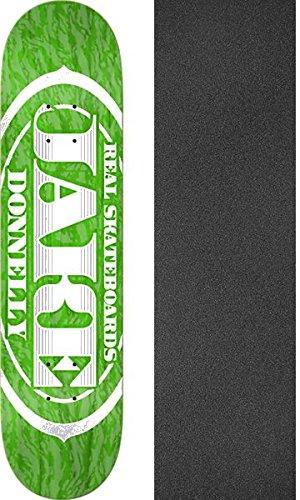 許されるパウダー織るReal Skateboards Jake Donnellyプレミアム楕円形アソートカラースケートボードデッキ – 8.02 X 31.97 CMでMob Grip Perforated Griptape – 2アイテムのバンドル