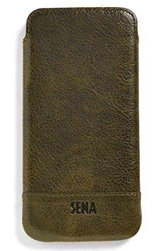 Aged Sage - Sena Heritage UltraSlim Leather Sleeve Lightweight Slim-Fit Soft Thin Pouch Case for iPhone Xs Max 6.5