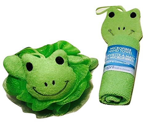 Adorable Green Frog Novelty Wash Cloths and Sponge Scrubbies for Babies and Toddlers; Animal Friends Make Bathing Fun (Green Frog); ()