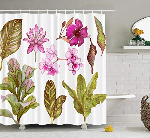 (Banana-Palm Fabric Shower Curtain, Waterproof Bathroom Shower Curtains Tropical Leaves and Flowers Orchid Banana Water Lily Hibiscus White Stock 72x78 inches Set of 12Hooks for Bathroom)