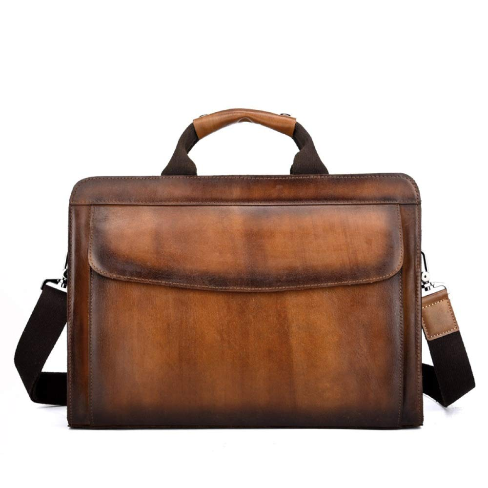 Color : Black DQMSB Mens Bag Cross Section Briefcase Retro Bag top Layer Leather Mens Handbag Messenger Bag