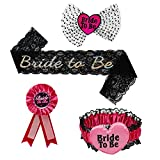 Bride to Be Black Satin Sash,Rosette Badge,Headband,and Garter for Bachelorette Party and Bride Showers