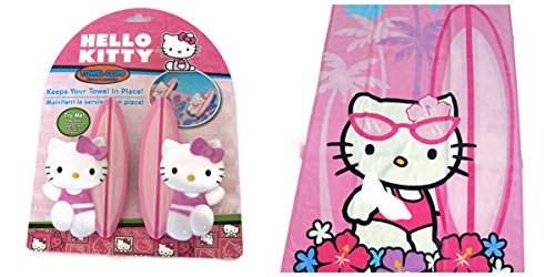 Hello Kitty Beach Towel Bundle Includes Hello Kitty Beach Towel and 2 Hello Kitty Beach Towel Clips