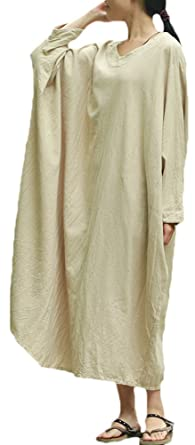 dae12a4317 Soojun Women s Natural Cotton Linen Oversized Dresses with Batwing Sleeve