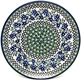 "Polish Pottery Plate - 10"" Dinner - Blue Chicory"
