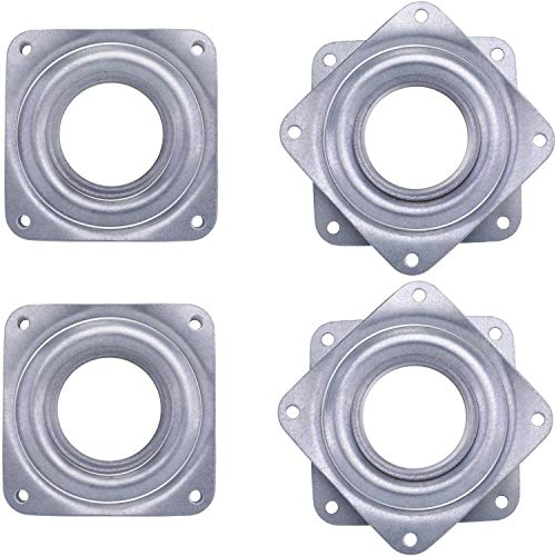 4 Pieces 3 Inch Square Lazy Susan Turntable Bearings Rotating Bearing Plate with 150 Pound Capacity, 5/16 Inch Thick (Silvery)