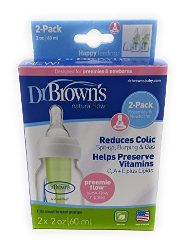 Dr. Browns 2 Ounce 2 Pack Bottle with Preemie Nipple - Green