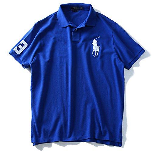 POLO RALPH LAUREN(ポロ ラルフローレン) ロゴ刺繍半袖鹿の子ポロシャツ 710692227 大きいサイズ メンズ[並行輸入品] B07DVWLJQ5  006.ブルー系 XXL