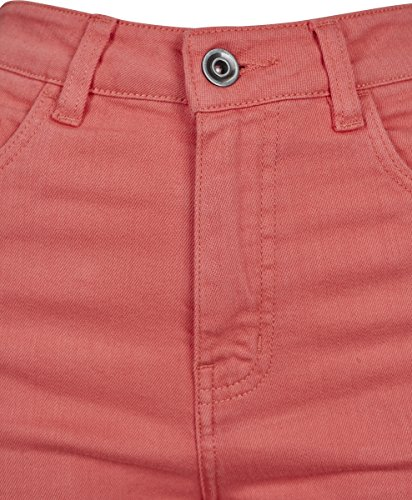 Coral Rosa Pantaloncini Stretch Classics 00092 Ladies Highwaist Shorts Donna Twill Urban zqH8q